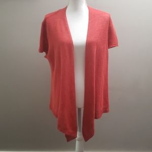 Eileen Fisher Knit Linen Short Sleeve Cardigan L